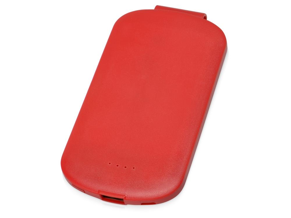 Портативное зарядное устройство Pin на 4000 mAh с большой площадью нанесения и клипом для крепления к одежде или сумке, красный