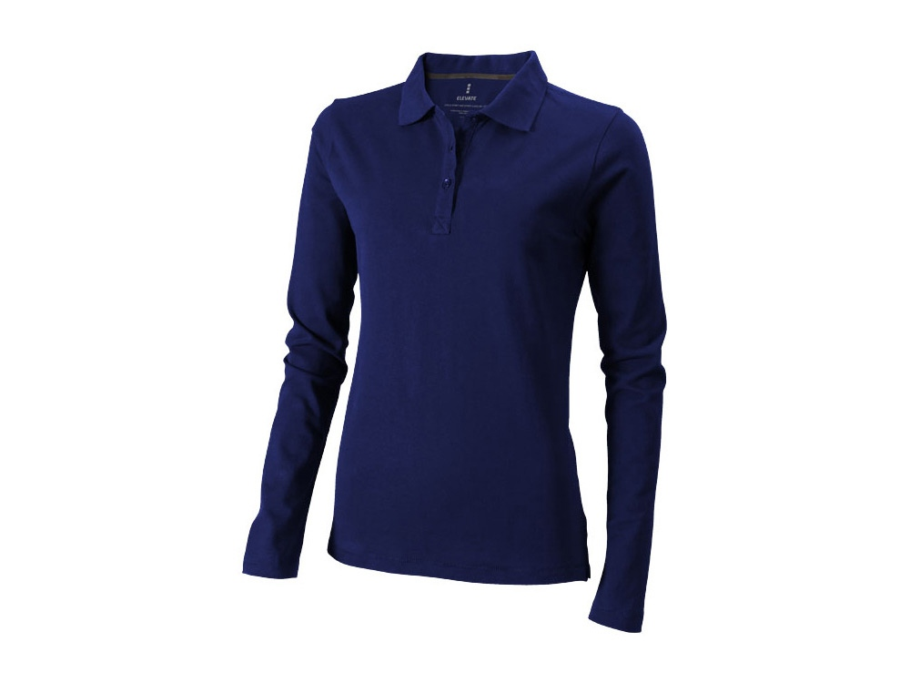 Рубашка поло Oakville женская с длинным рукавом, темно-синий