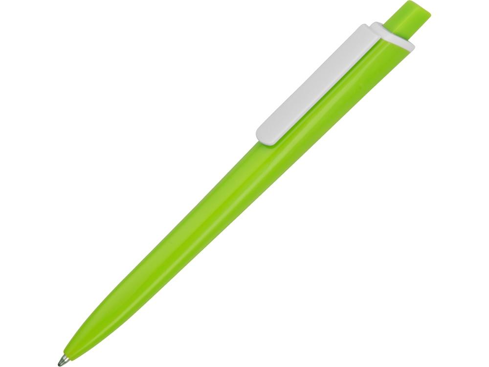 Ручка пластиковая трехгранная шариковая Lateen, зеленое яблоко/белый