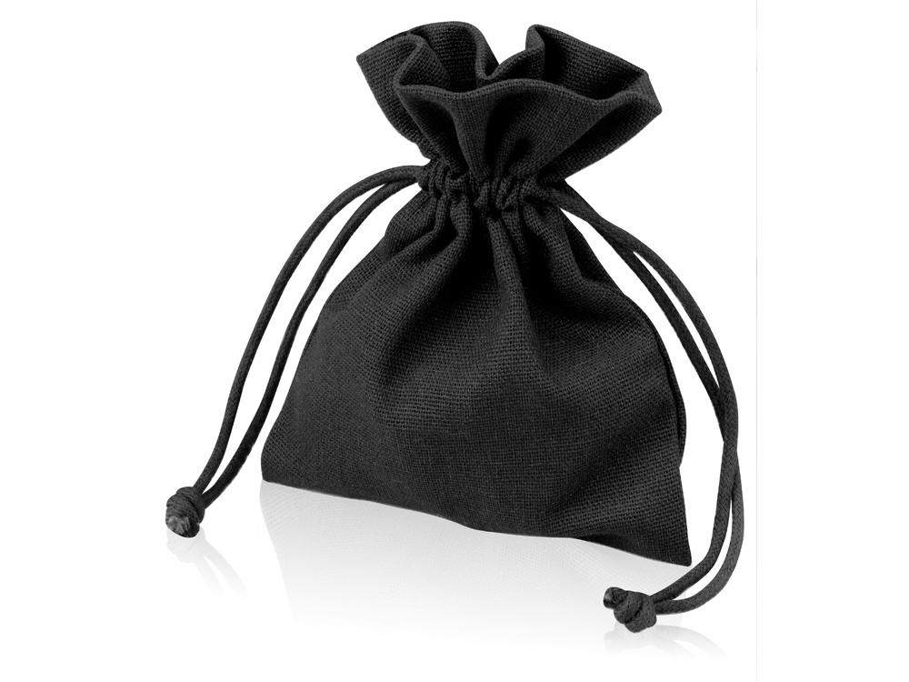 Мешочек подарочный, лен, малый, черный