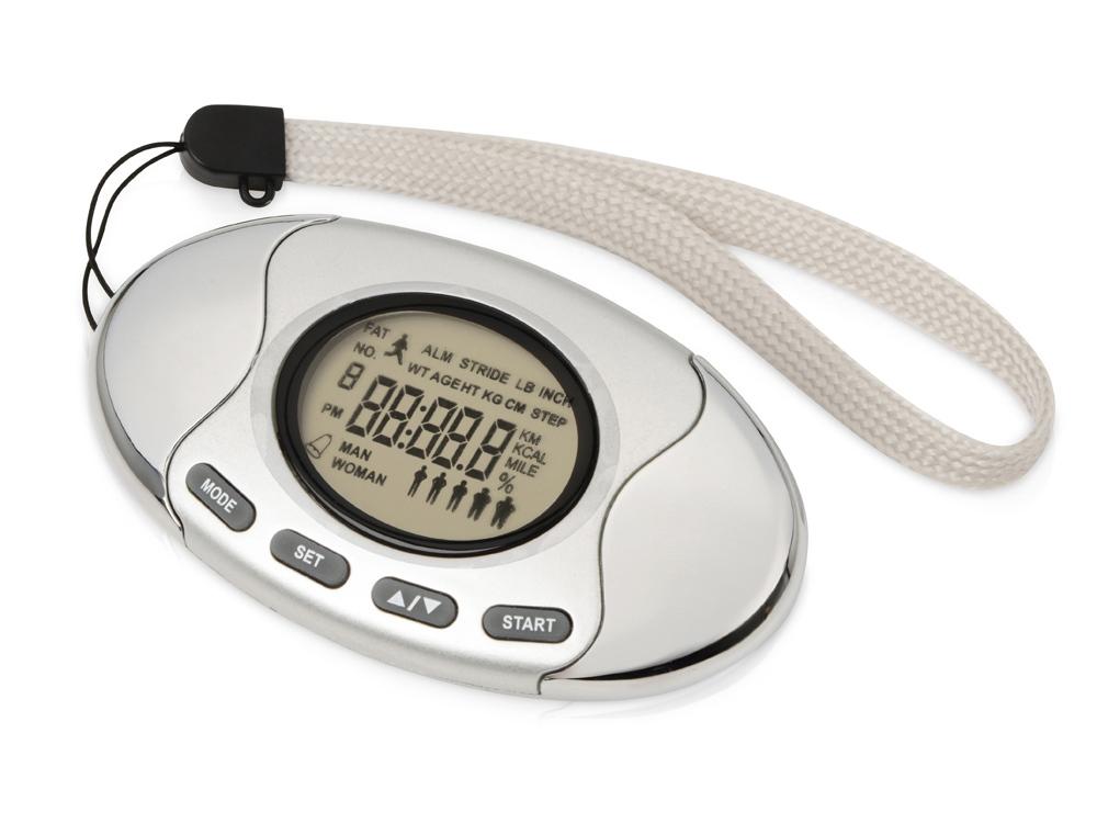 Шагомер со счетчиком калорий Marathon, серебристый