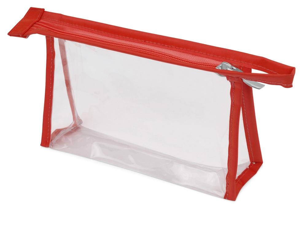 Прозрачнаяпластиковаякосметичка Lucy,красный
