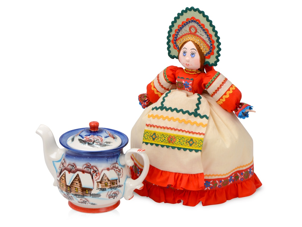 Набор Зимняя сказка: кукла на чайник, чайник заварной с росписью