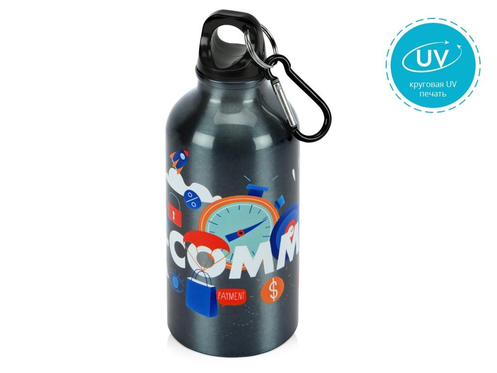 Бутылка Oregon с карабином 400мл с UV нанесением, мокрый асфальт