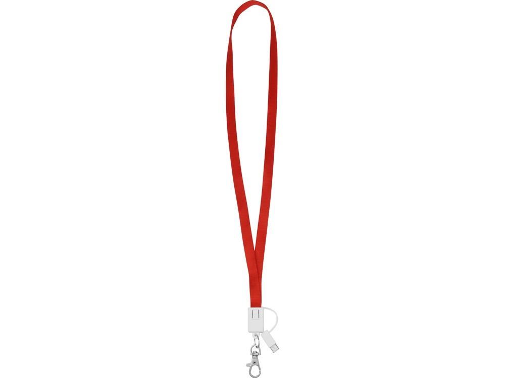 Ланьярд с зарядным кабелем 3-в-1 xTape, красный